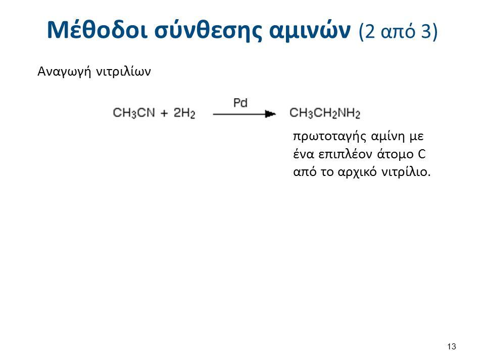 Μέθοδοι σύνθεσης αμινών (2 από 3) Αναγωγή νιτριλίων πρωτοταγής αμίνη με ένα επιπλέον άτομο C από το αρχικό νιτρίλιο.