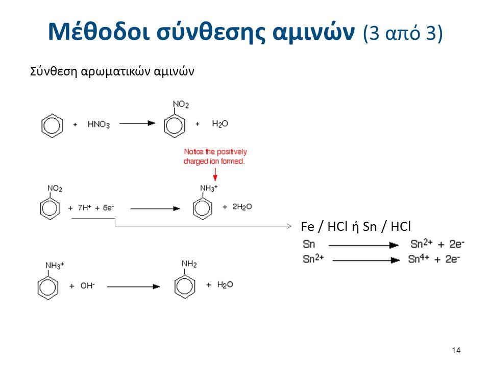 Μέθοδοι σύνθεσης αμινών (3 από 3) Σύνθεση αρωματικών αμινών Fe / HCl ή Sn / HCl 14