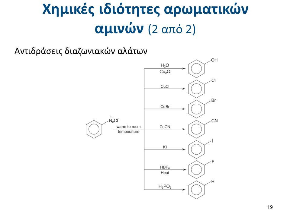 Χημικές ιδιότητες αρωματικών αμινών (2 από 2) Αντιδράσεις διαζωνιακών αλάτων 19