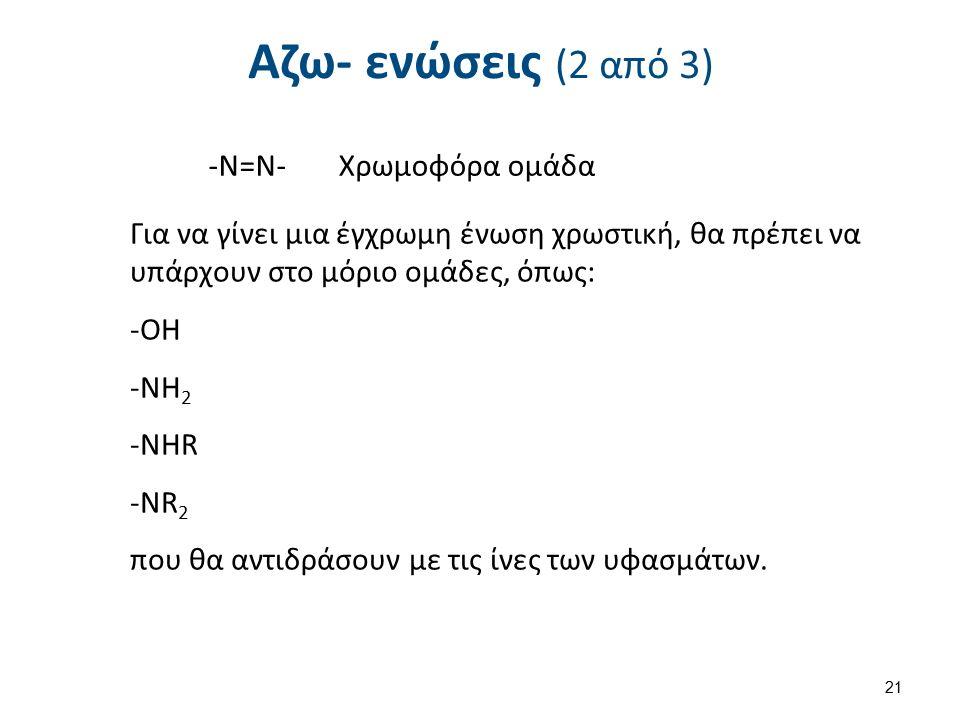 -Ν=Ν- Αζω- ενώσεις (2 από 3) Χρωμοφόρα ομάδα Για να γίνει μια έγχρωμη ένωση χρωστική, θα πρέπει να υπάρχουν στο μόριο ομάδες, όπως: -ΟΗ -ΝΗ 2 -ΝΗR -NR 2 που θα αντιδράσουν με τις ίνες των υφασμάτων.