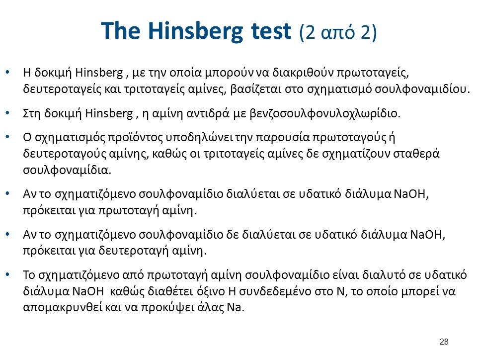 The Hinsberg test (2 από 2) Η δοκιμή Hinsberg, με την οποία μπορούν να διακριθούν πρωτοταγείς, δευτεροταγείς και τριτοταγείς αμίνες, βασίζεται στο σχηματισμό σουλφοναμιδίου.