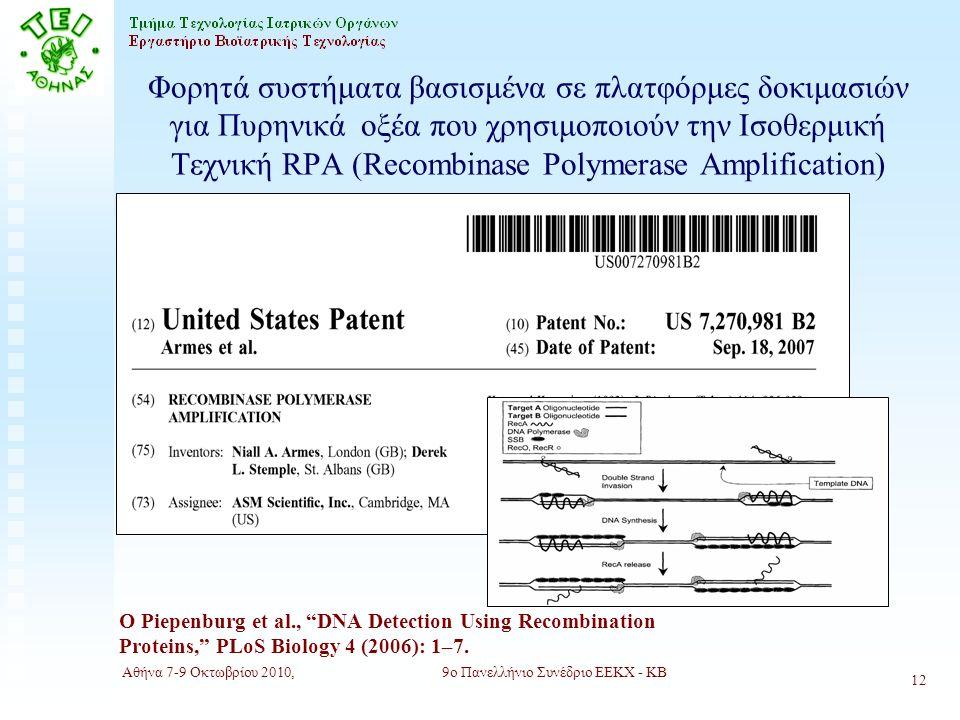 Αθήνα 7-9 Οκτωβρίου 2010,9ο Πανελλήνιο Συνέδριο ΕΕΚΧ - ΚΒ 12 Φορητά συστήματα βασισμένα σε πλατφόρμες δοκιμασιών για Πυρηνικά οξέα που χρησιμοποιούν την Ισοθερμική Τεχνική RPA (Recombinase Polymerase Amplification) O Piepenburg et al., DNA Detection Using Recombination Proteins, PLoS Biology 4 (2006): 1–7.