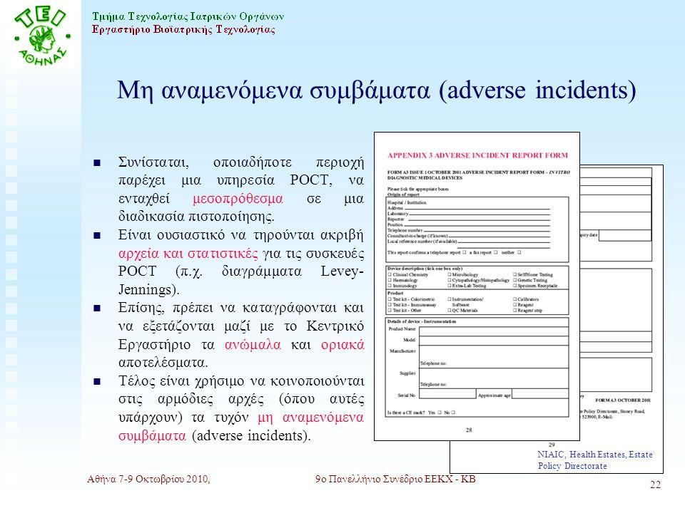 Αθήνα 7-9 Οκτωβρίου 2010,9ο Πανελλήνιο Συνέδριο ΕΕΚΧ - ΚΒ 22 Μη αναμενόμενα συμβάματα (adverse incidents) n Συνίσταται, οποιαδήποτε περιοχή παρέχει μια υπηρεσία POCT, να ενταχθεί μεσοπρόθεσμα σε μια διαδικασία πιστοποίησης.