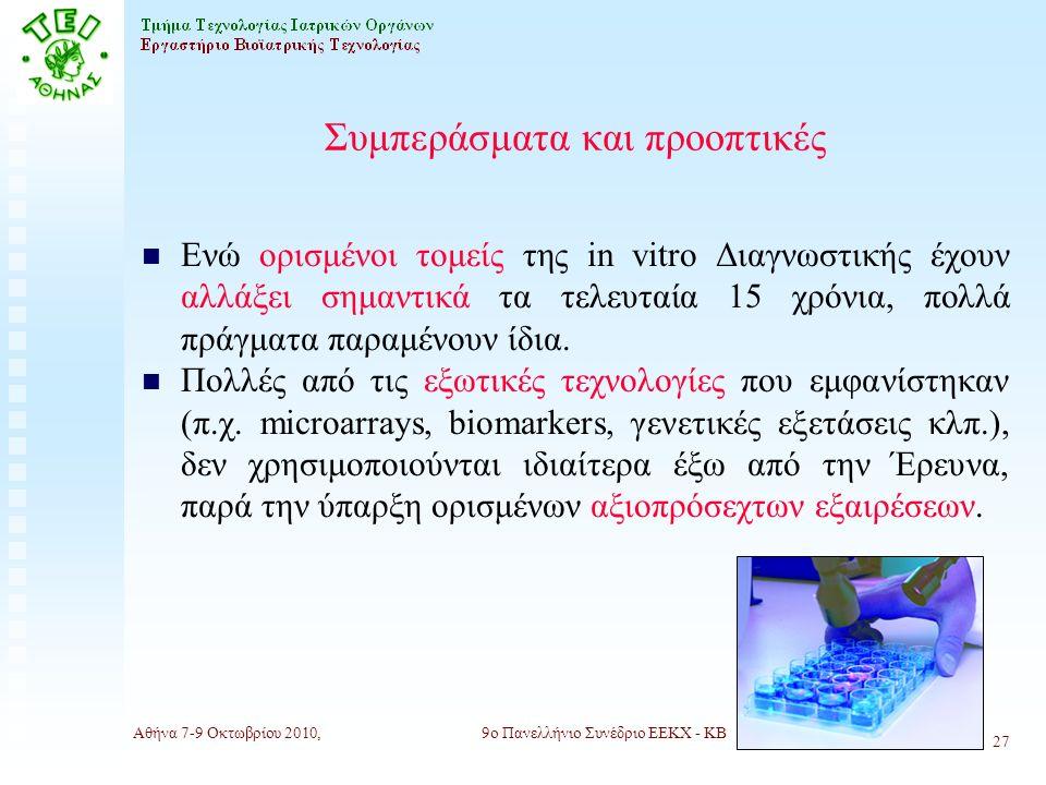 Αθήνα 7-9 Οκτωβρίου 2010,9ο Πανελλήνιο Συνέδριο ΕΕΚΧ - ΚΒ 27 Συμπεράσματα και προοπτικές n Ενώ ορισμένοι τομείς της in vitro Διαγνωστικής έχουν αλλάξει σημαντικά τα τελευταία 15 χρόνια, πολλά πράγματα παραμένουν ίδια.