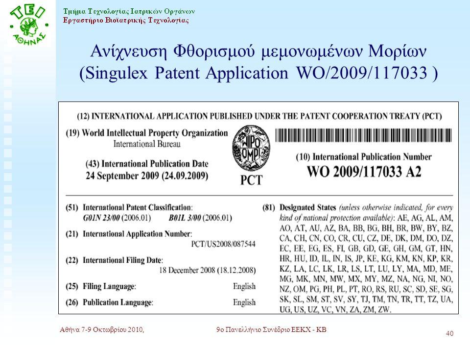 Αθήνα 7-9 Οκτωβρίου 2010,9ο Πανελλήνιο Συνέδριο ΕΕΚΧ - ΚΒ 40 Ανίχνευση Φθορισμού μεμονωμένων Μορίων (Singulex Patent Application WO/2009/117033 )