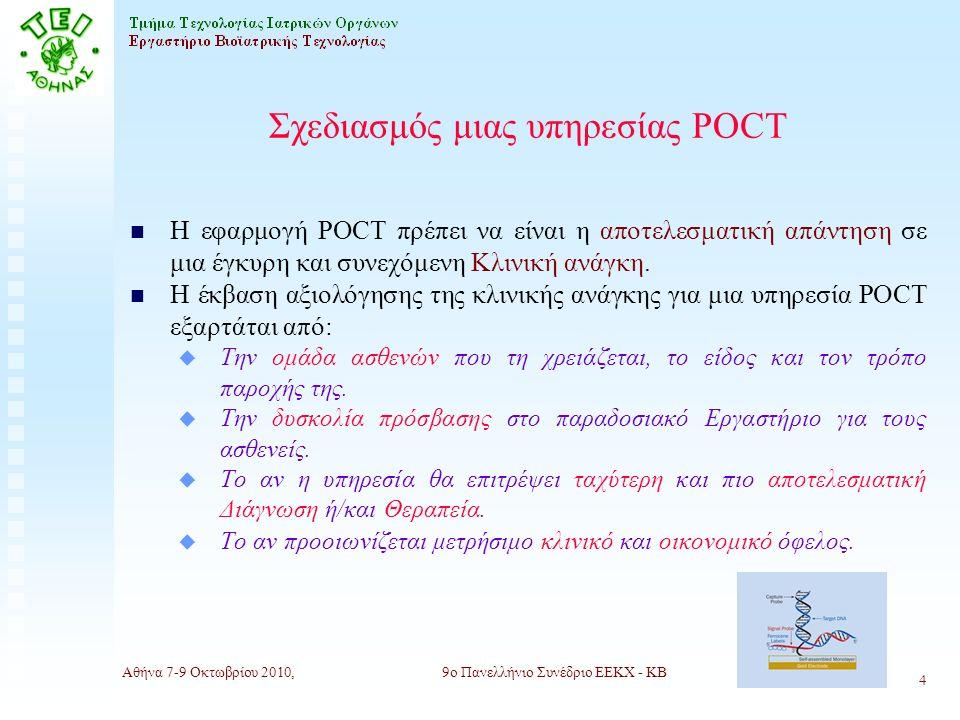Αθήνα 7-9 Οκτωβρίου 2010,9ο Πανελλήνιο Συνέδριο ΕΕΚΧ - ΚΒ 4 Σχεδιασμός μιας υπηρεσίας POCT n Η εφαρμογή POCT πρέπει να είναι η αποτελεσματική απάντηση σε μια έγκυρη και συνεχόμενη Κλινική ανάγκη.