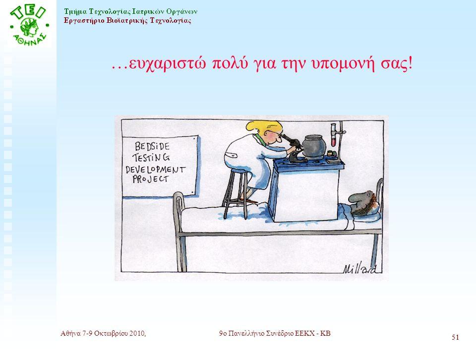 Αθήνα 7-9 Οκτωβρίου 2010,9ο Πανελλήνιο Συνέδριο ΕΕΚΧ - ΚΒ 51 …ευχαριστώ πολύ για την υπομονή σας.