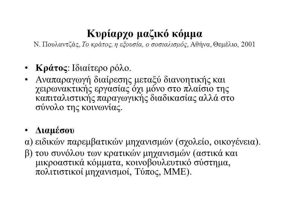 Κυρίαρχο μαζικό κόμμα Ν. Πουλαντζάς, Το κράτος, η εξουσία, ο σοσιαλισμός, Αθήνα, Θεμέλιο, 2001 Κράτος: Ιδιαίτερο ρόλο. Αναπαραγωγή διαίρεσης μεταξύ δι