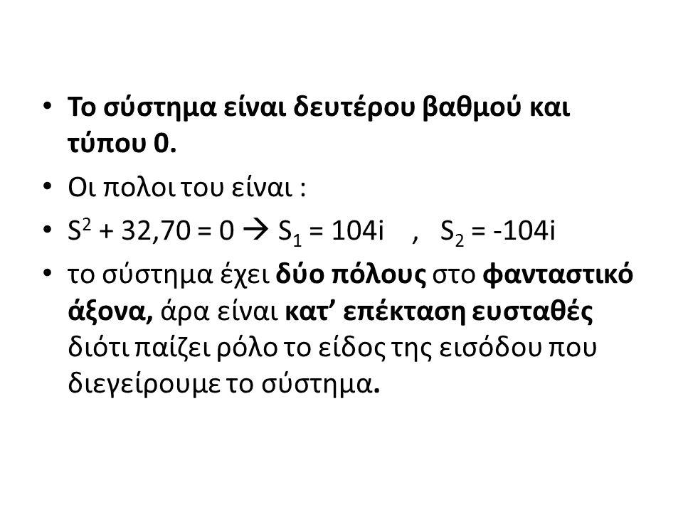 Το σύστημα είναι δευτέρου βαθμού και τύπου 0. Οι πολοι του είναι : S 2 + 32,70 = 0  S 1 = 104i, S 2 = -104i το σύστημα έχει δύο πόλους στο φανταστικό