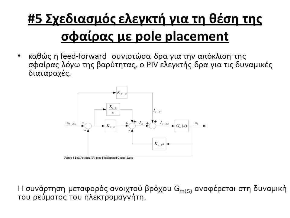 #5 Σχεδιασμός ελεγκτή για τη θέση της σφαίρας με pole placement καθώς η feed-forward συνιστώσα δρα για την απόκλιση της σφαίρας λόγω της βαρύτητας, ο PIV ελεγκτής δρα για τις δυναμικές διαταραχές.