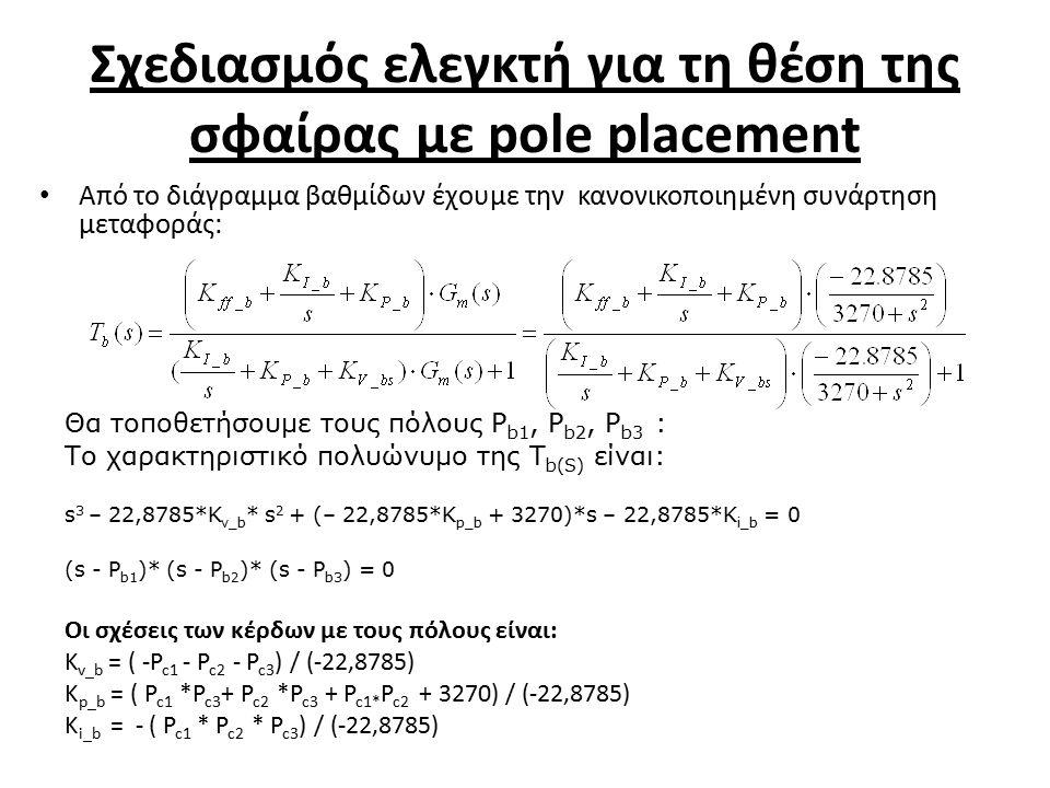 Σχεδιασμός ελεγκτή για τη θέση της σφαίρας με pole placement Θα τοποθετήσουμε τους πόλους P b1, P b2, P b3 : Το χαρακτηριστικό πολυώνυμο της T b(S) είναι: s 3 – 22,8785*K v_b * s 2 + (– 22,8785*K p_b + 3270)*s – 22,8785*K i_b = 0 (s - P b1 )* (s - P b2 )* (s - P b3 ) = 0 Οι σχέσεις των κέρδων με τους πόλους είναι: K v_b = ( -P c1 - P c2 - P c3 ) / (-22,8785) K p_b = ( P c1 *P c3 + P c2 *P c3 + P c1* P c2 + 3270) / (-22,8785) K i_b = - ( P c1 * P c2 * P c3 ) / (-22,8785) Από το διάγραμμα βαθμίδων έχουμε την κανονικοποιημένη συνάρτηση μεταφοράς: