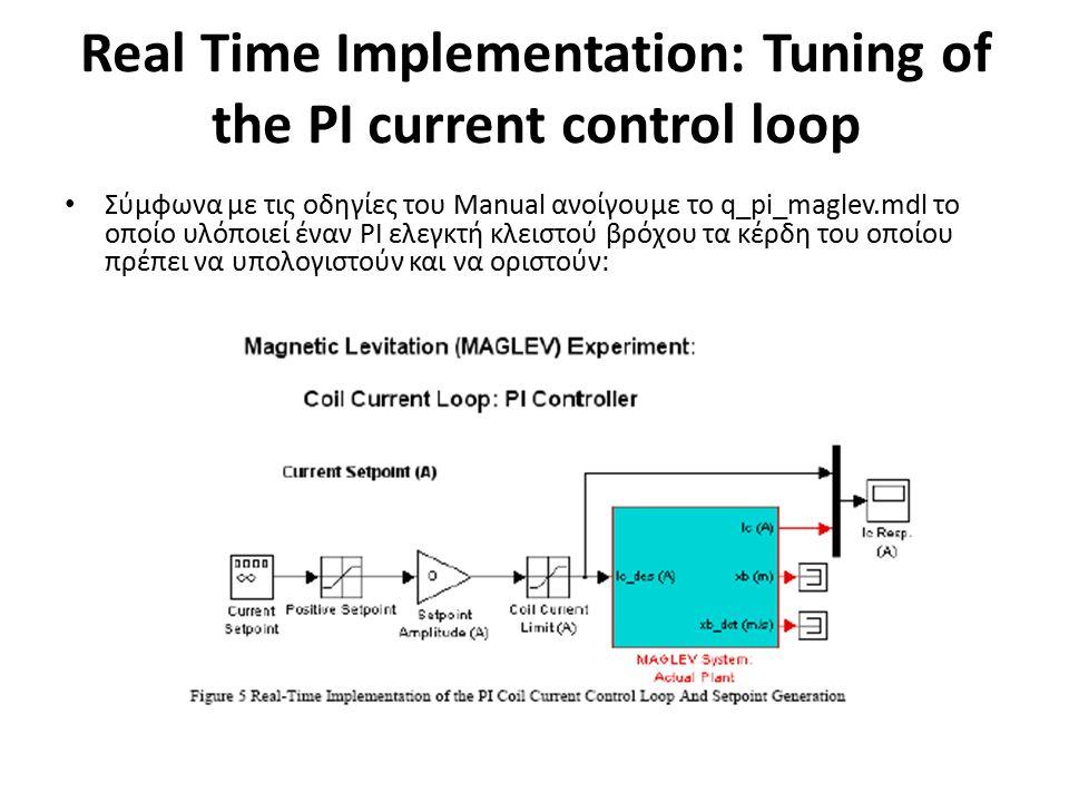 Real Time Implementation: Tuning of the PI current control loop Σύμφωνα με τις οδηγίες του Manual ανοίγουμε το q_pi_maglev.mdl το οποίο υλόποιεί έναν