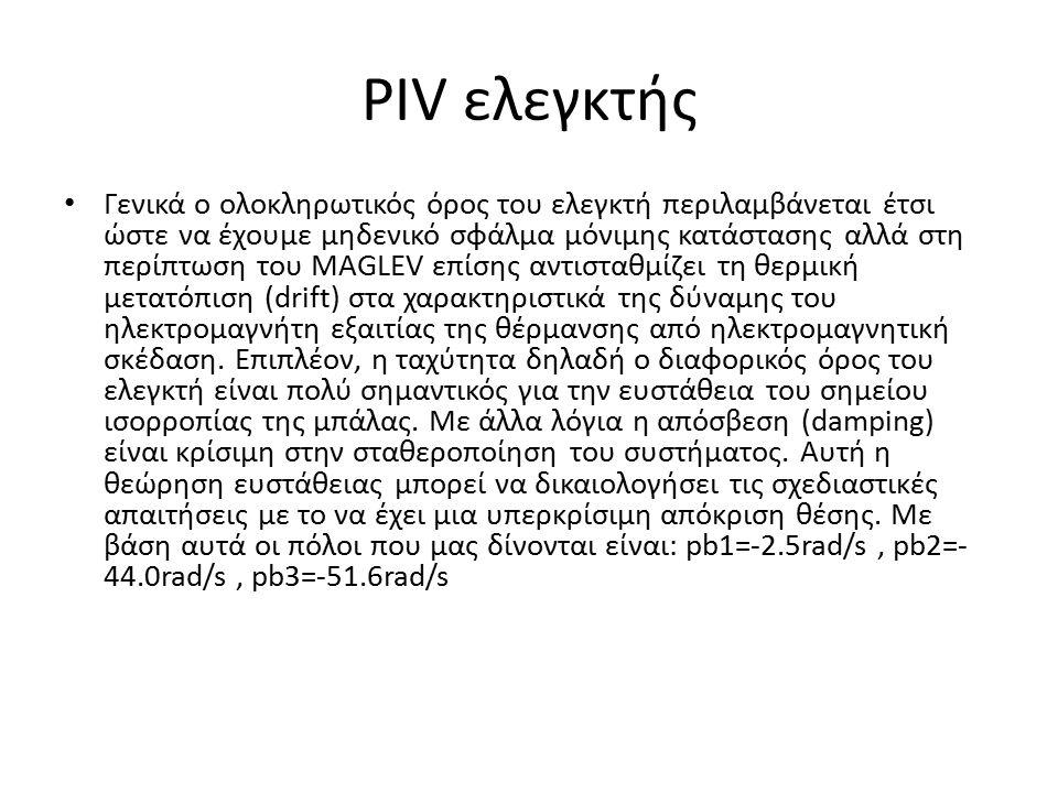 PIV ελεγκτής Γενικά ο ολοκληρωτικός όρος του ελεγκτή περιλαμβάνεται έτσι ώστε να έχουμε μηδενικό σφάλμα μόνιμης κατάστασης αλλά στη περίπτωση του MAGL