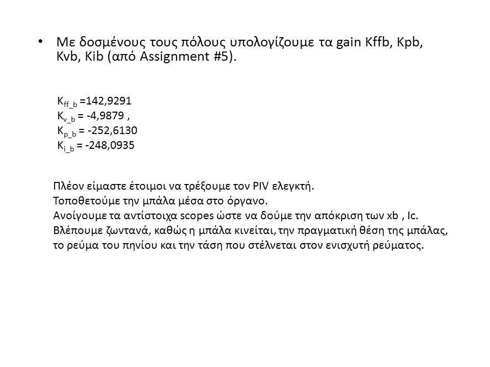Με δοσμένους τους πόλους υπολογίζουμε τα gain Kffb, Kpb, Kvb, Kib (από Assignment #5). K ff_b =142,9291 K v_b = -4,9879, K p_b = -252,6130 K i_b = -24
