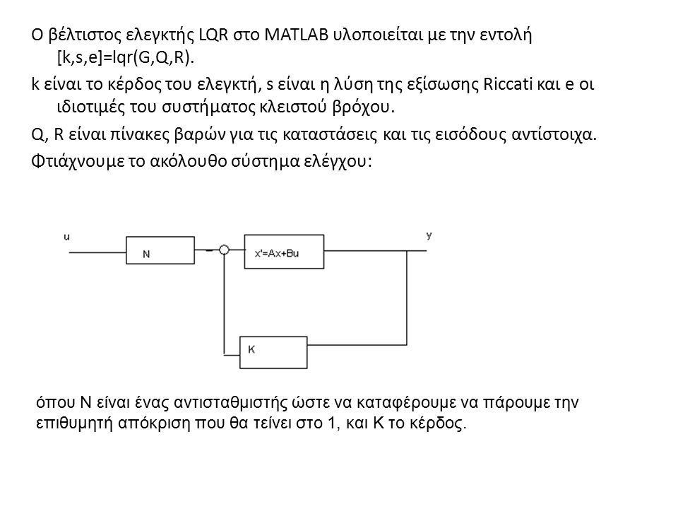 Ο βέλτιστος ελεγκτής LQR στο MATLAB υλοποιείται με την εντολή [k,s,e]=lqr(G,Q,R). k είναι το κέρδος του ελεγκτή, s είναι η λύση της εξίσωσης Riccati κ