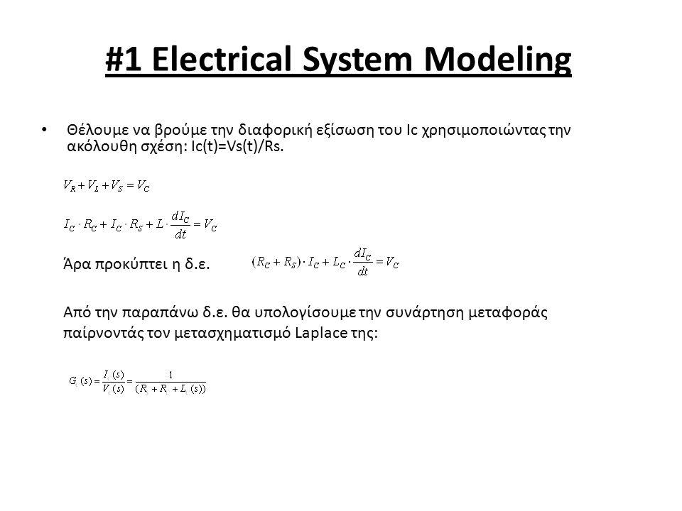 #1 Electrical System Modeling Θέλουμε να βρούμε την διαφορική εξίσωση του Ic χρησιμοποιώντας την ακόλουθη σχέση: Ic(t)=Vs(t)/Rs. Άρα προκύπτει η δ.ε.