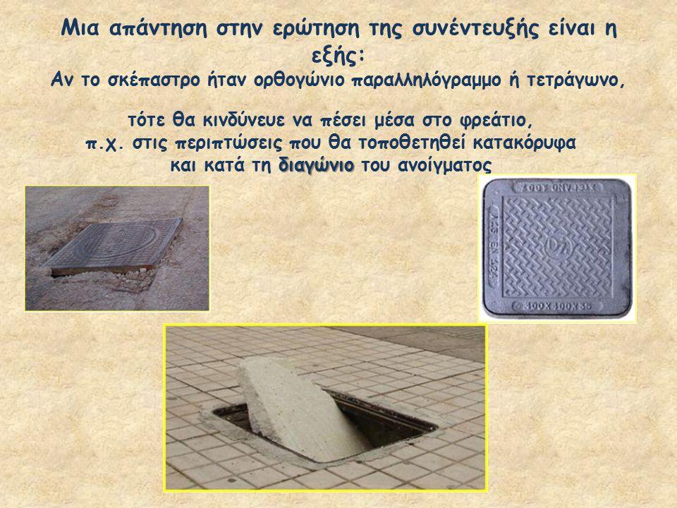 Μια απάντηση στην ερώτηση της συνέντευξής είναι η εξής: Αν το σκέπαστρο ήταν ορθογώνιο παραλληλόγραμμο ή τετράγωνο, τότε θα κινδύνευε να πέσει μέσα στ