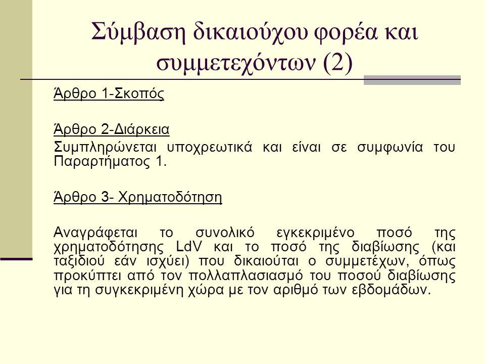Σύμβαση δικαιούχου φορέα και συμμετεχόντων (2) Άρθρο 1-Σκοπός Άρθρο 2-Διάρκεια Συμπληρώνεται υποχρεωτικά και είναι σε συμφωνία του Παραρτήματος 1.