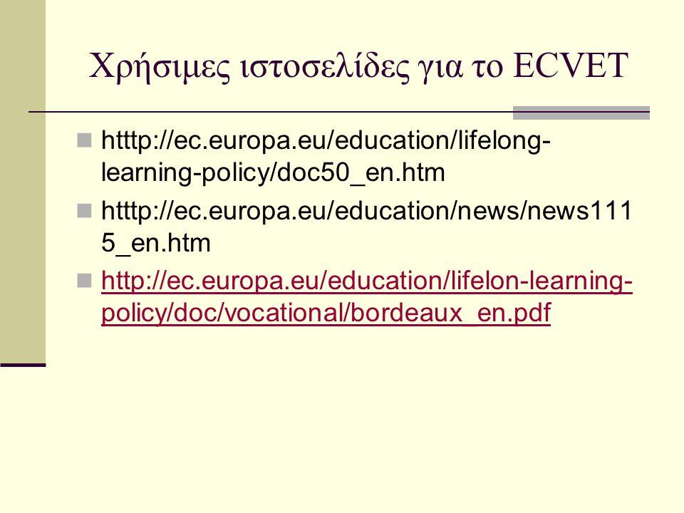 Χρήσιμες ιστοσελίδες για το ECVET htttp://ec.europa.eu/education/lifelong- learning-policy/doc50_en.htm htttp://ec.europa.eu/education/news/news111 5_en.htm http://ec.europa.eu/education/lifelon-learning- policy/doc/vocational/bordeaux_en.pdf http://ec.europa.eu/education/lifelon-learning- policy/doc/vocational/bordeaux_en.pdf
