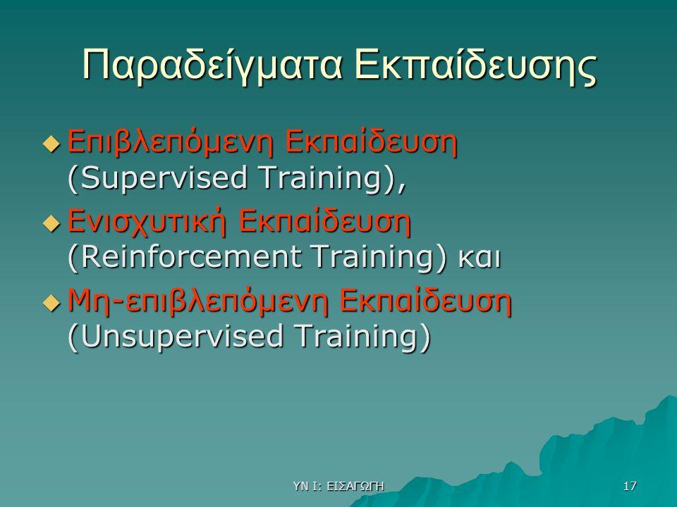ΥΝ Ι: ΕΙΣΑΓΩΓΗ 17 Παραδείγματα Εκπαίδευσης  Επιβλεπόμενη Εκπαίδευση (Supervised Training),  Ενισχυτική Εκπαίδευση (Reinforcement Training) και  Μη-επιβλεπόμενη Εκπαίδευση (Unsupervised Training)