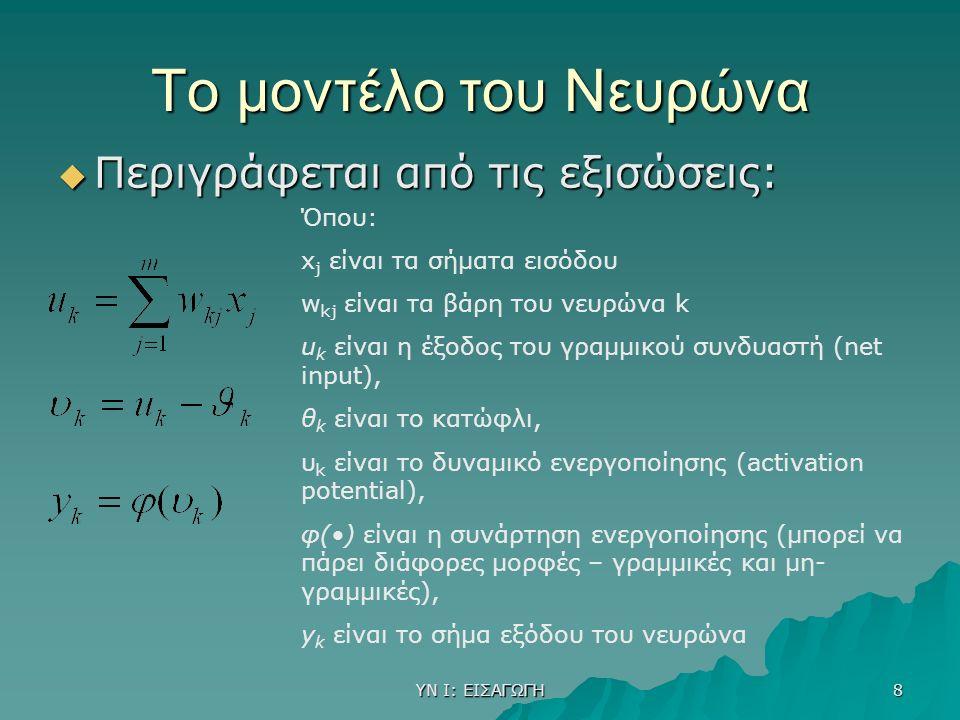 ΥΝ Ι: ΕΙΣΑΓΩΓΗ 8 Το μοντέλο του Νευρώνα  Περιγράφεται από τις εξισώσεις: Όπου: x j είναι τα σήματα εισόδου w kj είναι τα βάρη του νευρώνα k u k είναι