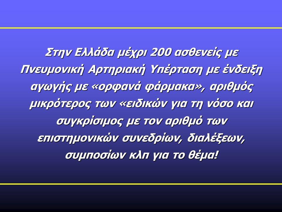Στην Ελλάδα μέχρι 200 ασθενείς με Πνευμονική Αρτηριακή Υπέρταση με ένδειξη αγωγής με «ορφανά φάρμακα», αριθμός μικρότερος των «ειδικών για τη νόσο και συγκρίσιμος με τον αριθμό των επιστημονικών συνεδρίων, διαλέξεων, συμποσίων κλπ για το θέμα!