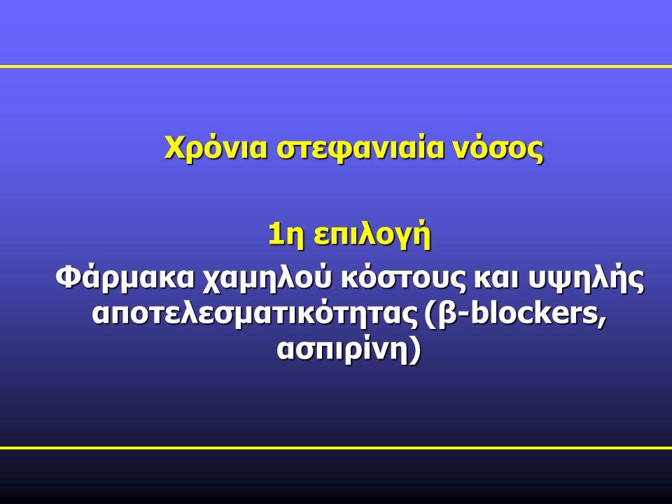Χρόνια στεφανιαία νόσος Χρόνια στεφανιαία νόσος 1η επιλογή Φάρμακα χαμηλού κόστους και υψηλής αποτελεσματικότητας (β-blockers, ασπιρίνη)
