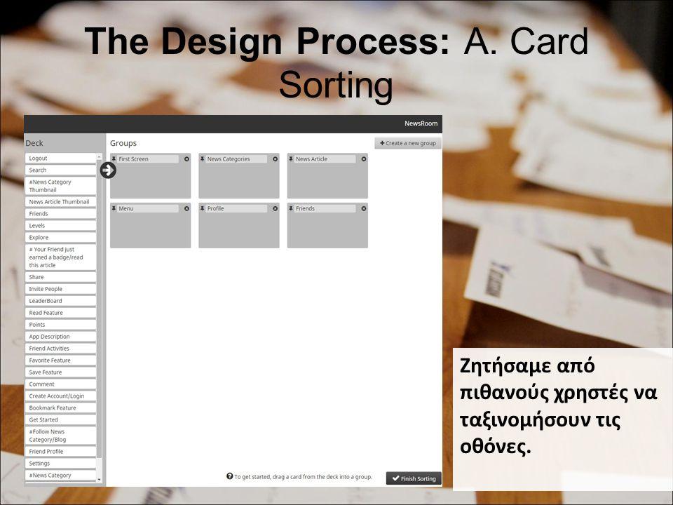 The Design Process: A. Card Sorting Ζητήσαμε από πιθανούς χρηστές να ταξινομήσουν τις οθόνες.