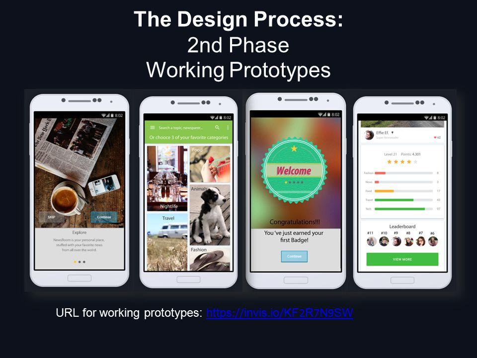 The Design Process: 2nd Phase Working Prototypes URL for working prototypes: https :// invis.