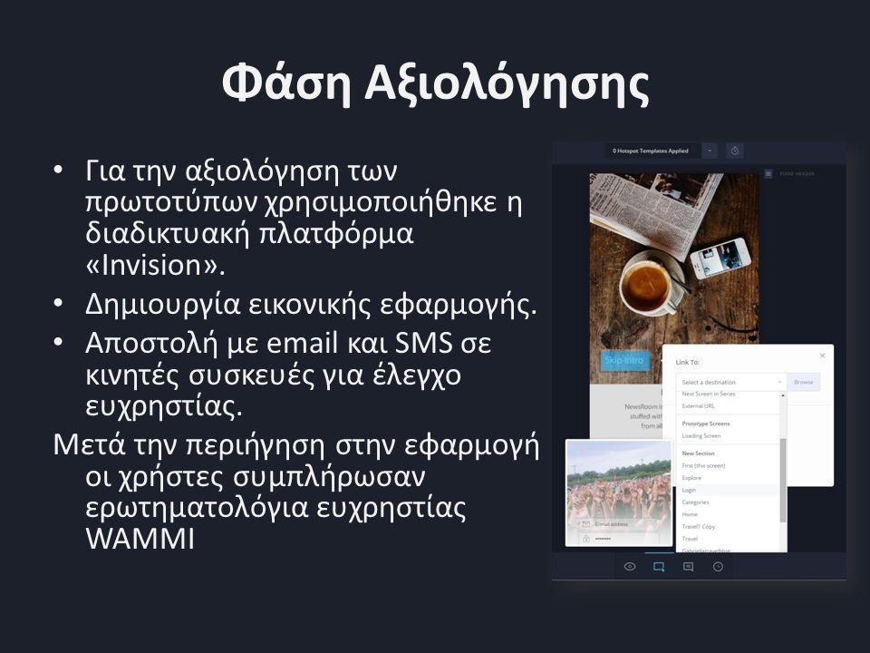 Φάση Αξιολόγησης Για την αξιολόγηση των πρωτοτύπων χρησιμοποιήθηκε η διαδικτυακή πλατφόρμα «Invision».