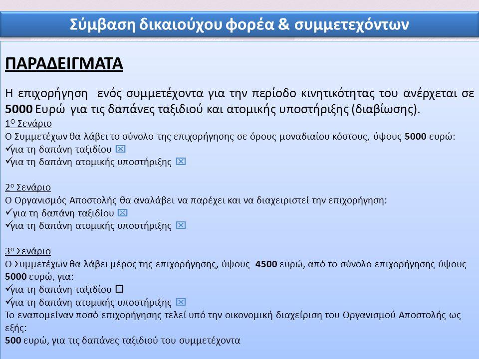 11 Σύμβαση δικαιούχου φορέα & συμμετεχόντων ΠΑΡΑΔΕΙΓΜΑΤΑ Η επιχορήγηση ενός συμμετέχοντα για την περίοδο κινητικότητας του ανέρχεται σε 5000 Ευρώ για τις δαπάνες ταξιδιού και ατομικής υποστήριξης (διαβίωσης).