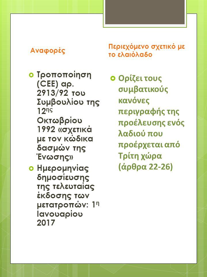  Τροποποίηση (CEE) αρ.1019/2002 της Επιτροπής της 13 ης Ιουνίου 2002 «σχετικά με τον κανονισμό εμπορίου του ελαιολάδου»  Ορίζει τις επιλογές συσκευασίας, τις ετικέτες, την οργάνωση των ελέγχων σε κάθε κράτος- μέλος.
