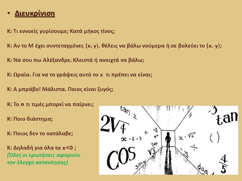 Συμπέρασμα – γενίκευση - πρόβλεψη Συμπέρασμα – γενίκευση - πρόβλεψη Κ : Άρα προϋποθέτει ότι το x ανήκει που ; Μ : Στο πεδίο ορισμού.