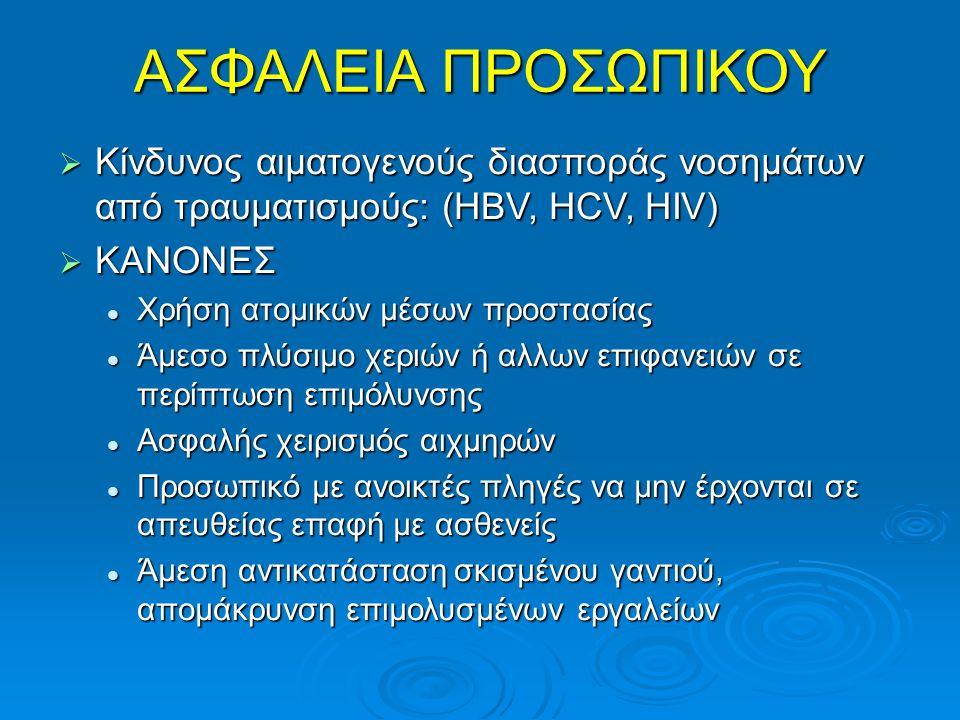 ΑΣΦΑΛΕΙΑ ΠΡΟΣΩΠΙΚΟΥ  Κίνδυνος αιματογενούς διασποράς νοσημάτων από τραυματισμούς: (HBV, HCV, HIV)  ΚΑΝΟΝΕΣ Χρήση ατομικών μέσων προστασίας Χρήση ατο