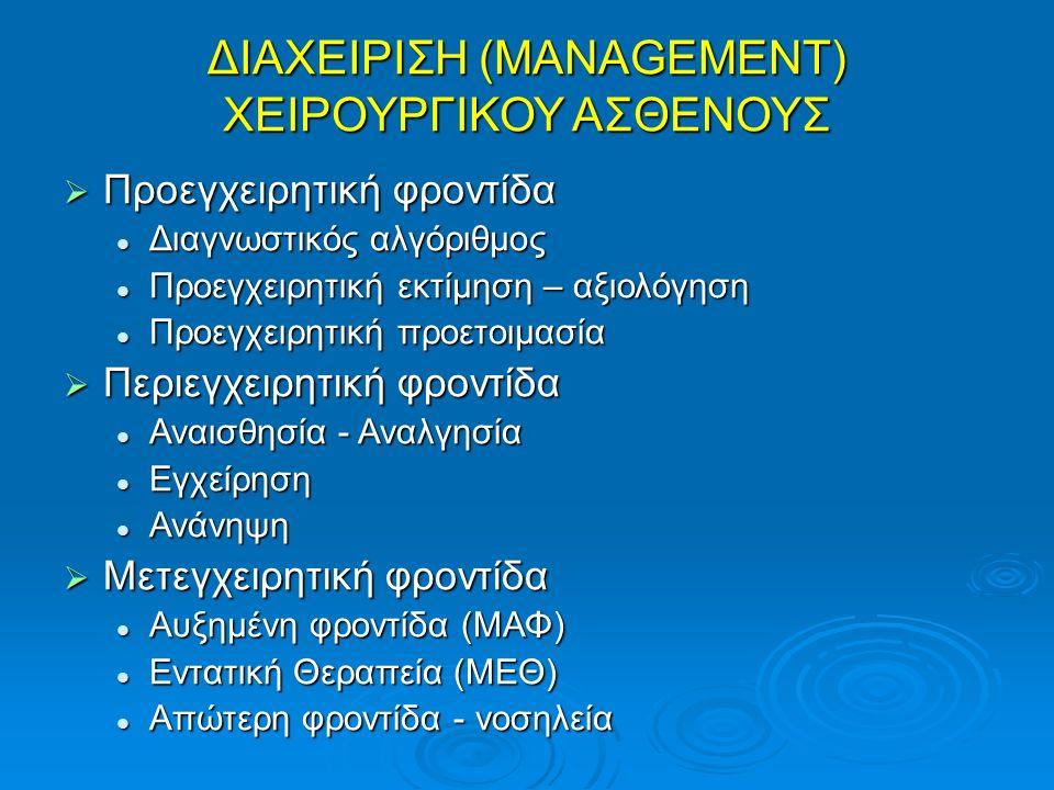 ΔΙΑΧΕΙΡΙΣΗ (MANAGEMENT) ΧΕΙΡΟΥΡΓΙΚΟΥ ΑΣΘΕΝΟΥΣ  Προεγχειρητική φροντίδα Διαγνωστικός αλγόριθμος Διαγνωστικός αλγόριθμος Προεγχειρητική εκτίμηση – αξιο