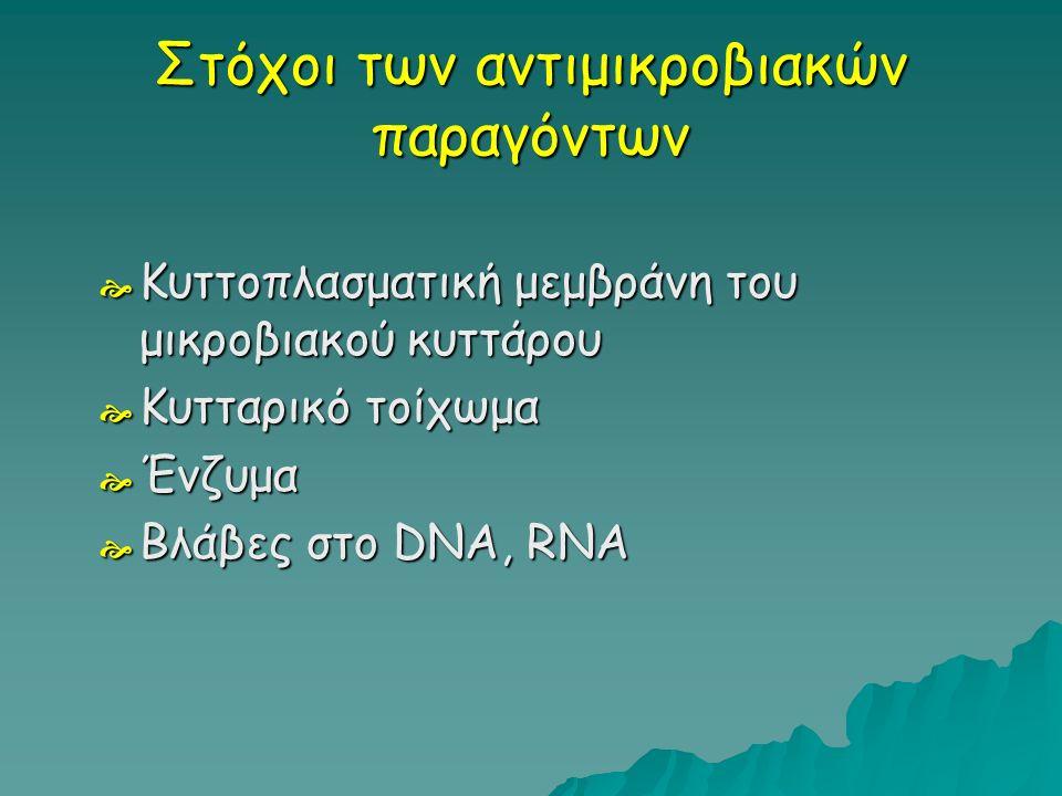 Στόχοι των αντιμικροβιακών παραγόντων  Κυττοπλασματική μεμβράνη του μικροβιακού κυττάρου  Κυτταρικό τοίχωμα  Ένζυμα  Βλάβες στο DNA, RNA