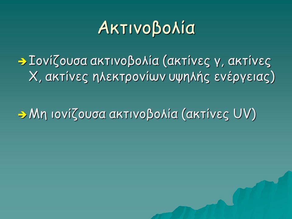 Aκτινοβολία  Ιονίζουσα ακτινοβολία (ακτίνες γ, ακτίνες Χ, ακτίνες ηλεκτρονίων υψηλής ενέργειας)  Μη ιονίζουσα ακτινοβολία (ακτίνες UV)