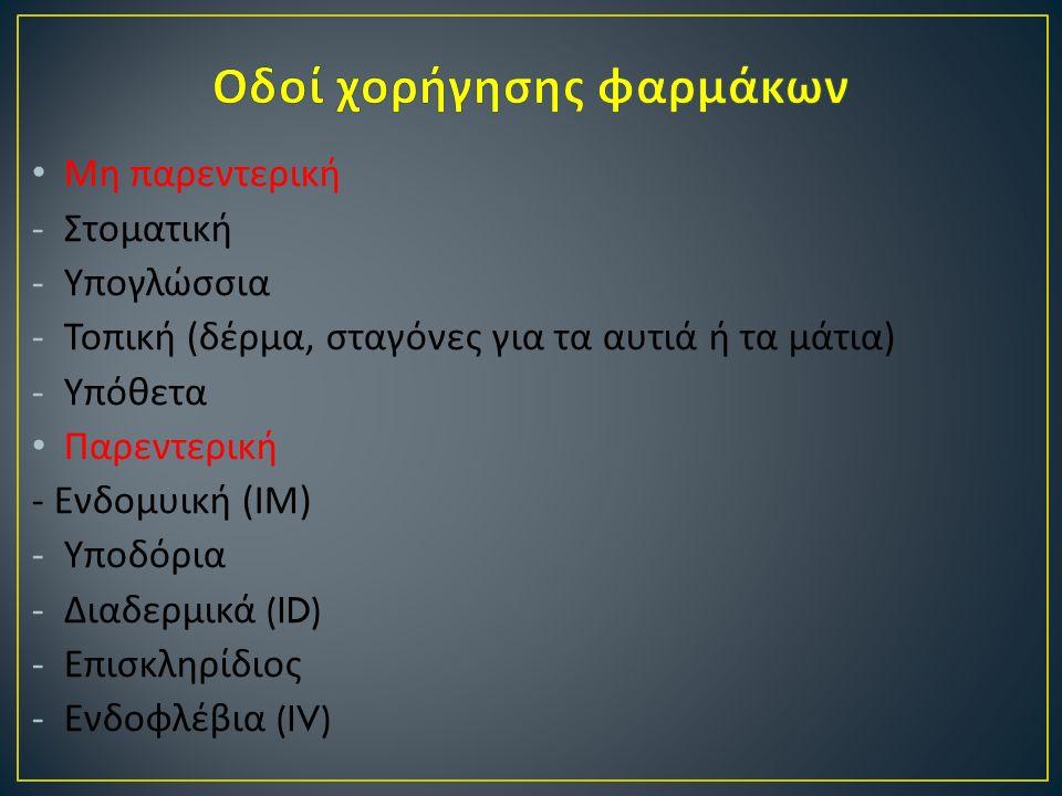 Μη παρεντερική -Στοματική -Υπογλώσσια -Τοπική ( δέρμα, σταγόνες για τα αυτιά ή τα μάτια ) -Υπόθετα Παρεντερική - Ενδομυική ( ΙΜ ) -Υποδόρια -Διαδερμικά (ID) -Επισκληρίδιος -Ενδοφλέβια (IV)