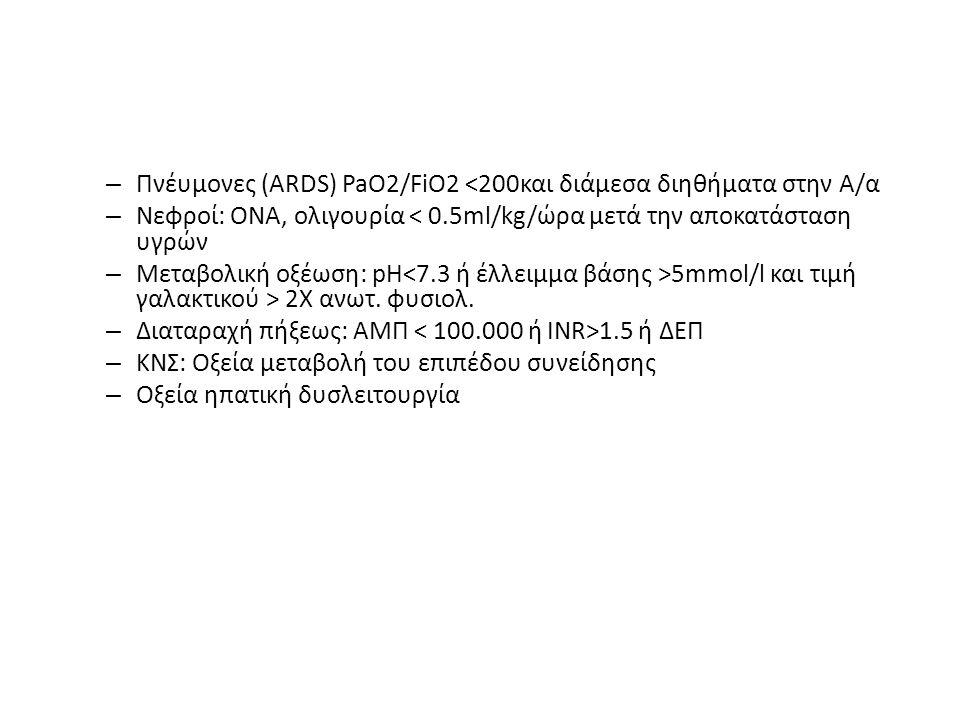 – Πνέυμονες (ARDS) PaO2/FiO2 <200και διάμεσα διηθήματα στην Α/α – Νεφροί: ΟΝΑ, ολιγουρία < 0.5ml/kg/ώρα μετά την αποκατάσταση υγρών – Μεταβολική οξέωση: pH 5mmol/l και τιμή γαλακτικού > 2Χ ανωτ.