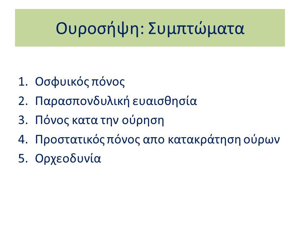 Ουροσήψη: Συμπτώματα 1.Οσφυικός πόνος 2.Παρασπονδυλική ευαισθησία 3.Πόνος κατα την ούρηση 4.Προστατικός πόνος απο κατακράτηση ούρων 5.Ορχεοδυνία