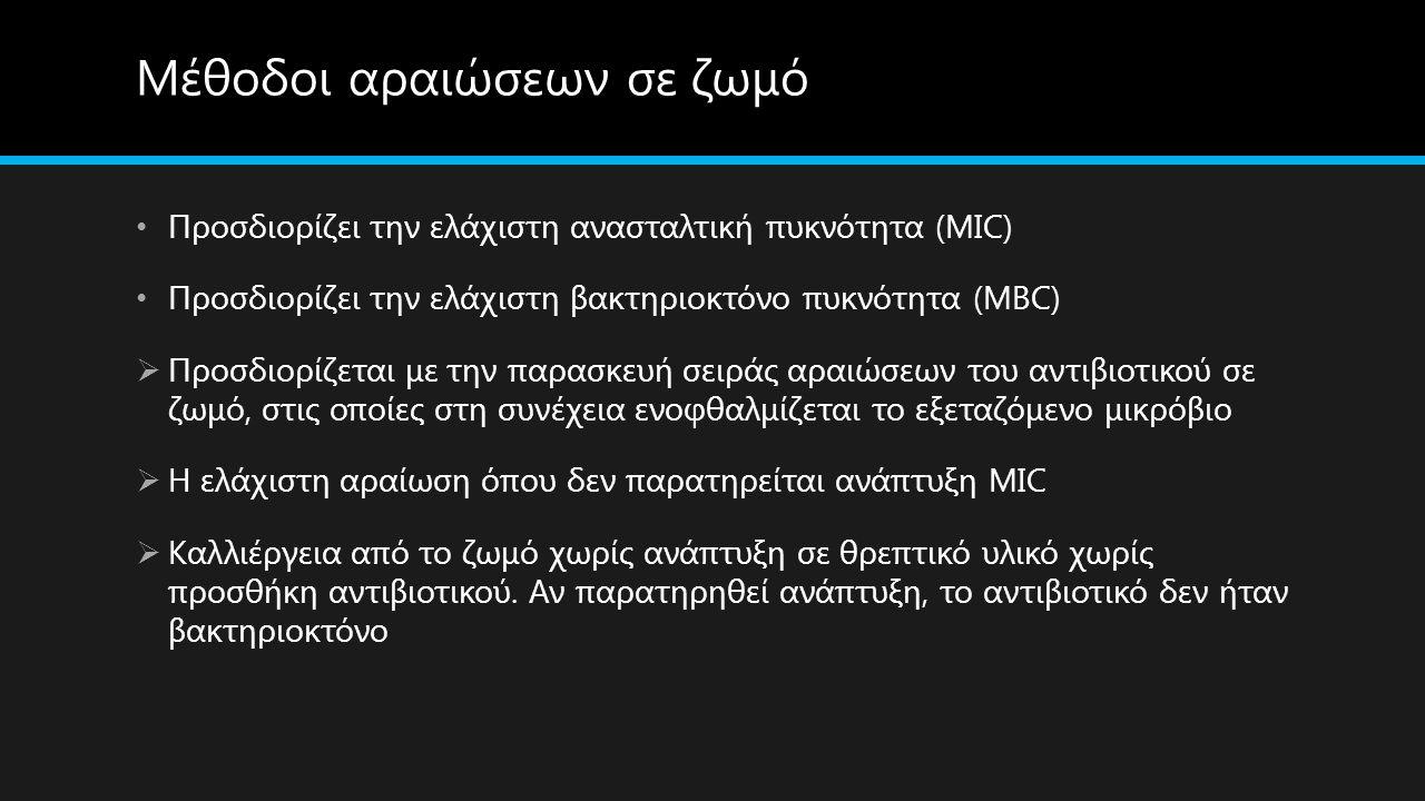 Μέθοδοι αραιώσεων σε ζωμό Προσδιορίζει την ελάχιστη ανασταλτική πυκνότητα (MIC) Προσδιορίζει την ελάχιστη βακτηριοκτόνο πυκνότητα (MBC)  Προσδιορίζετ