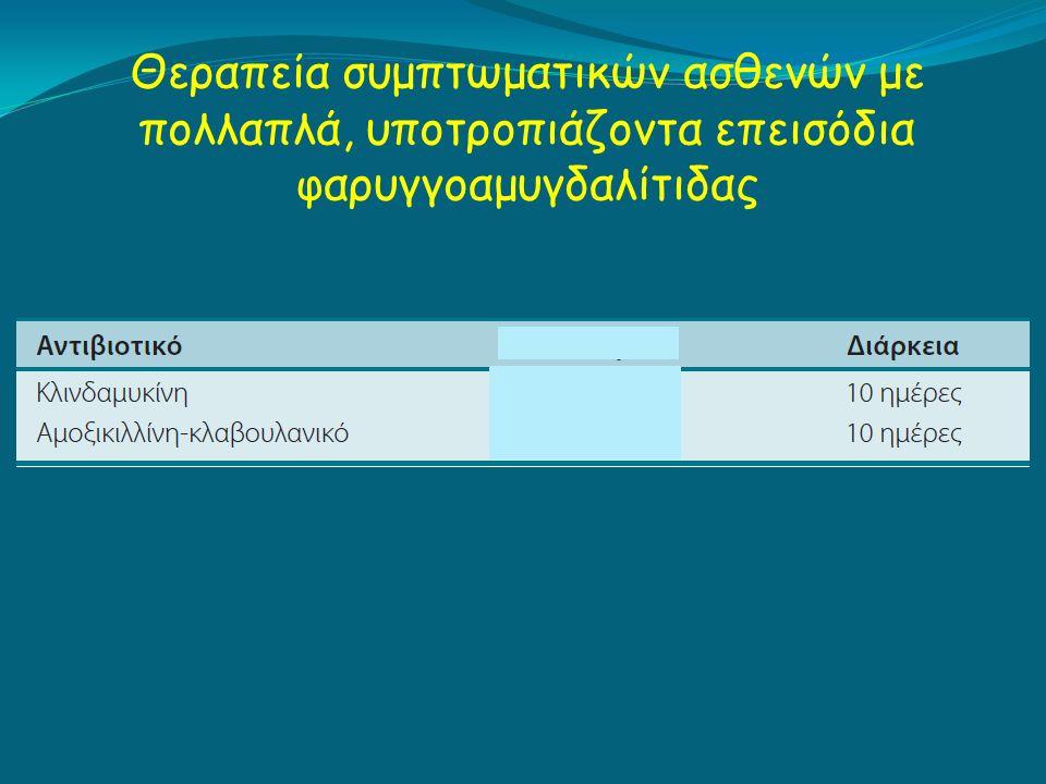 Θεραπεία συμπτωματικών ασθενών με πολλαπλά, υποτροπιάζοντα επεισόδια φαρυγγοαμυγδαλίτιδας