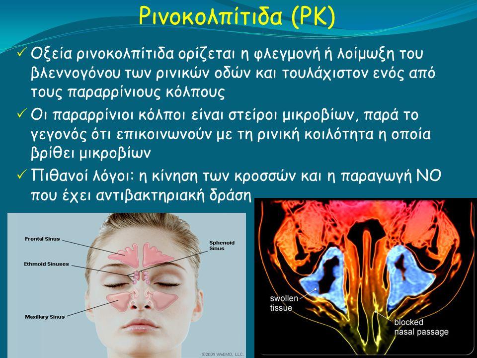 Ρινοκολπίτιδα (ΡΚ)  Οξεία ρινοκολπίτιδα ορίζεται η φλεγμονή ή λοίμωξη του βλεννογόνου των ρινικών οδών και τουλάχιστον ενός από τους παραρρίνιους κόλπους  Οι παραρρίνιοι κόλποι είναι στείροι μικροβίων, παρά το γεγονός ότι επικοινωνούν με τη ρινική κοιλότητα η οποία βρίθει μικροβίων  Πιθανοί λόγοι: η κίνηση των κροσσών και η παραγωγή ΝΟ που έχει αντιβακτηριακή δράση