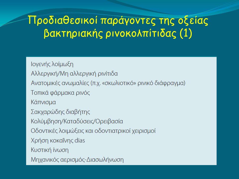 Προδιαθεσικοί παράγοντες της οξείας βακτηριακής ρινοκολπίτιδας (1)