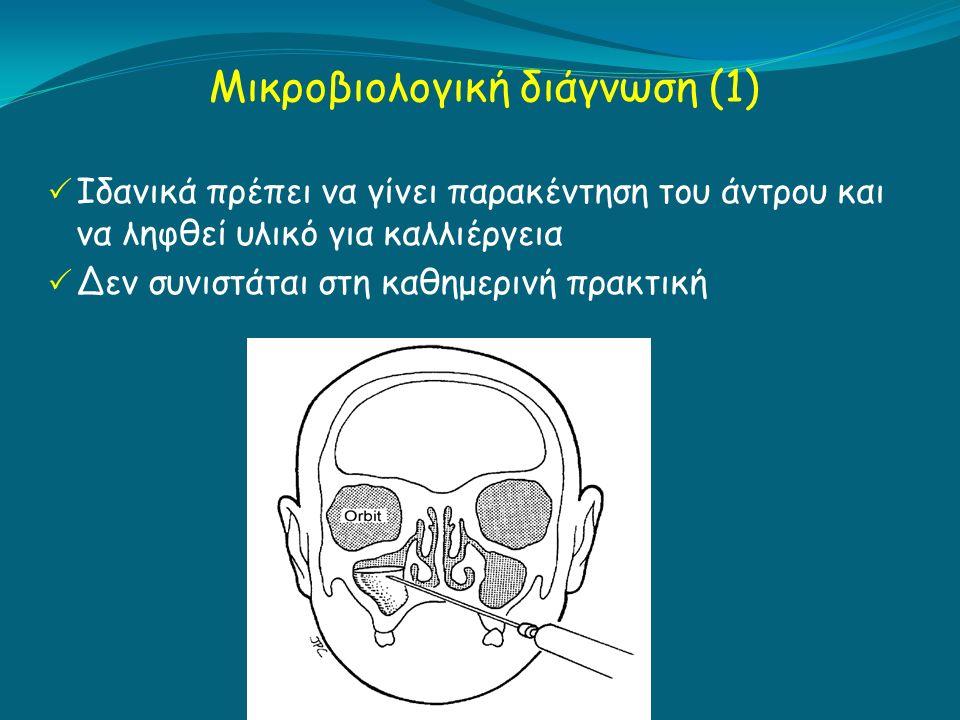 Mικροβιολογική διάγνωση (1)  Iδανικά πρέπει να γίνει παρακέντηση του άντρου και να ληφθεί υλικό για καλλιέργεια  Δεν συνιστάται στη καθημερινή πρακτική