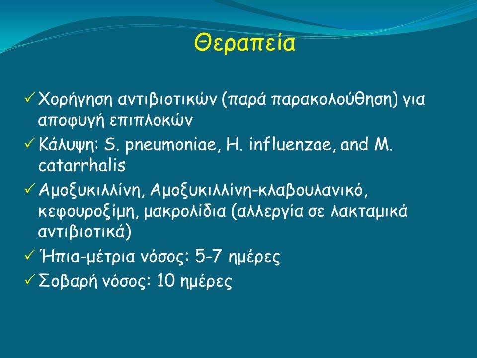 Θεραπεία  Χορήγηση αντιβιοτικών (παρά παρακολούθηση) για αποφυγή επιπλοκών  Κάλυψη: S.