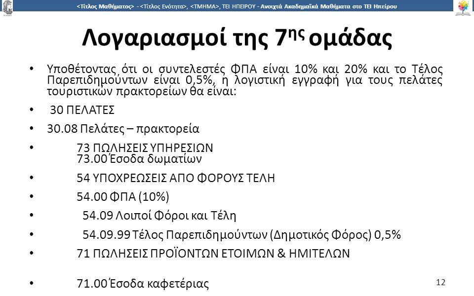 1212 -,, ΤΕΙ ΗΠΕΙΡΟΥ - Ανοιχτά Ακαδημαϊκά Μαθήματα στο ΤΕΙ Ηπείρου Λογαριασμοί της 7 ης ομάδας Υποθέτοντας ότι οι συντελεστές ΦΠΑ είναι 10% και 20% κα
