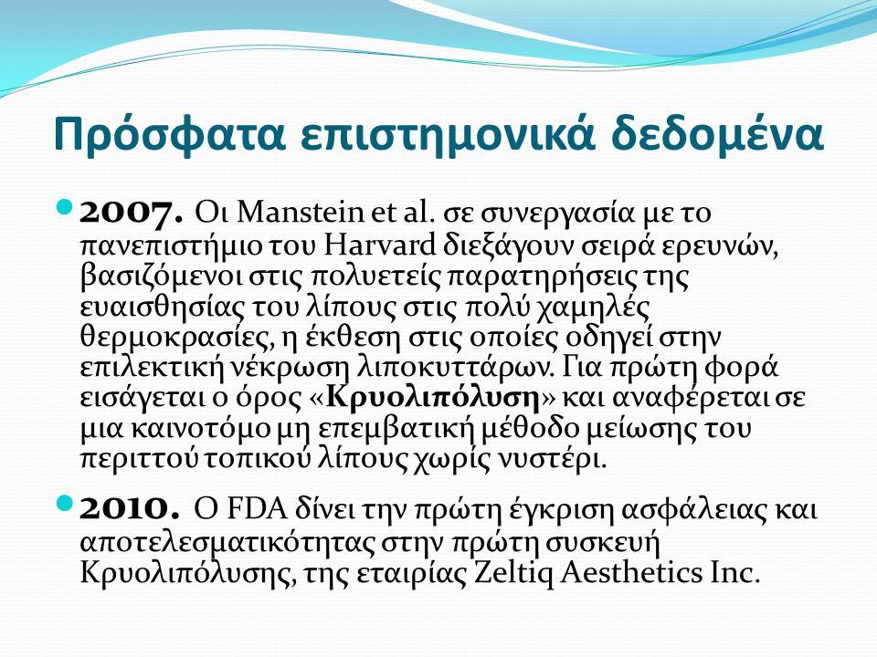 Πρόσφατα επιστημονικά δεδομένα 2007. Οι Manstein et al.