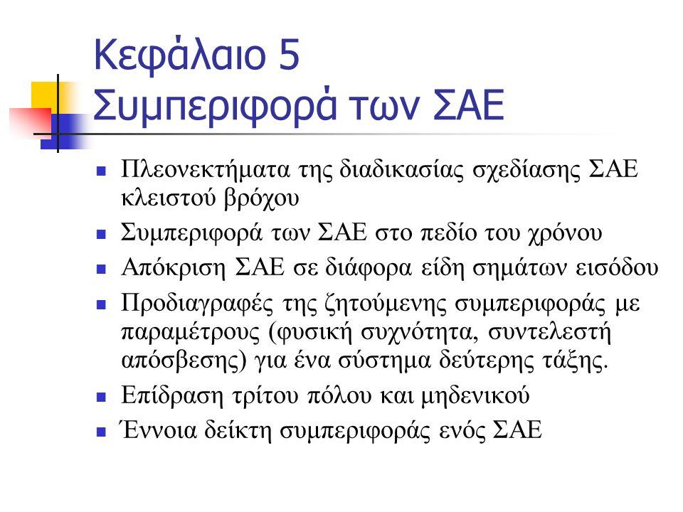Κεφάλαιο 5 Συμπεριφορά των ΣΑΕ Πλεονεκτήματα της διαδικασίας σχεδίασης ΣΑΕ κλειστού βρόχου Συμπεριφορά των ΣΑΕ στο πεδίο του χρόνου Απόκριση ΣΑΕ σε διάφορα είδη σημάτων εισόδου Προδιαγραφές της ζητούμενης συμπεριφοράς με παραμέτρους (φυσική συχνότητα, συντελεστή απόσβεσης) για ένα σύστημα δεύτερης τάξης.