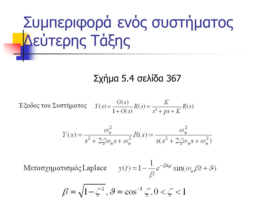 Εκτίμηση του συντελεστή απόσβεσης με βάση τη βηματική απόκριση Υποθέτοντας ότι ο μεταβατικός όρος εξασθενεί ύστερα από n σταθερές χρόνου τότε Για σύστημα δεύτερης τάξης μετά από n=4 σταθερές χρόνου η απόκριση διαφέρει από την τελική κατά 2%.